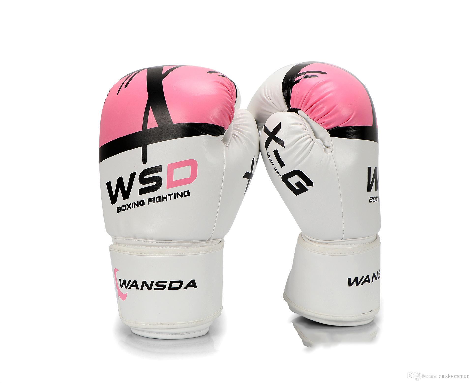 0a2b28cad Compre Luvas De Boxe De Alta Qualidade Adultos Luvas De Boxe MMA Muay Thai  De Luva Luva Equipamentos 6 8 10 12 OZ Rosa Luva De Boxe Para As Mulheres  De ...