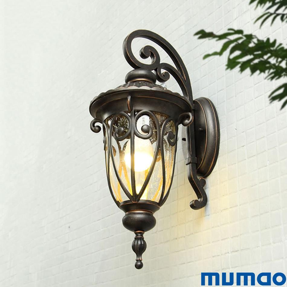 2019 european outdoor wall lamp retro lighting waterproof balcony lamp corridor aisle lights gate garden glass porch lights fixtures from huanze