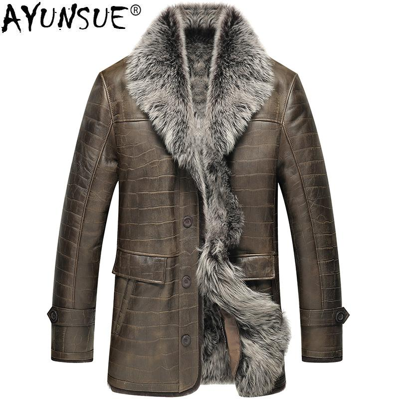 2019 Ayunsue Genuine Leather Jacket Men Winter Sheep Shearling