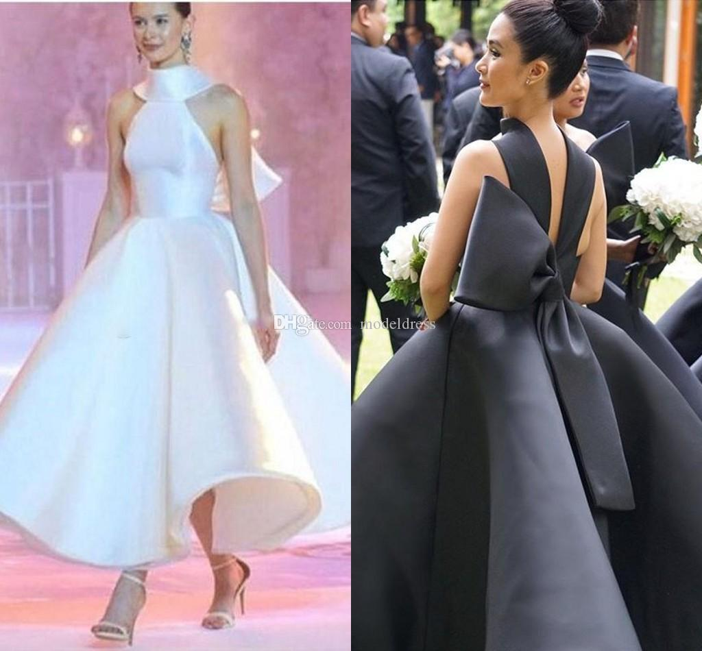 Latest Runway Evening Dresses Halter High Neck Backless Big Bow Ankle Length Satin White Black Prom Party Red Carpet Gowns Vestidos