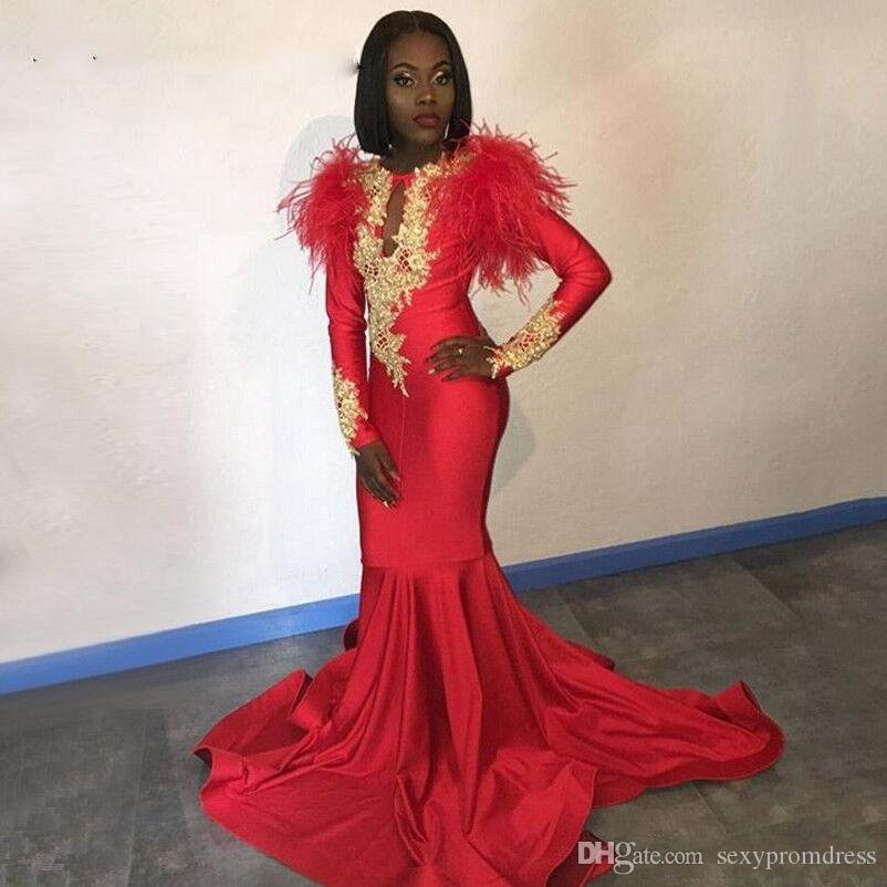 be590a87807 Charming Feather Red Prom Dresses 2K19 South African Long Sleeves Mermaid Evening  Gowns Gold Lace Appliques Sweep Train Cocktail Party Dress Prom Dress ...