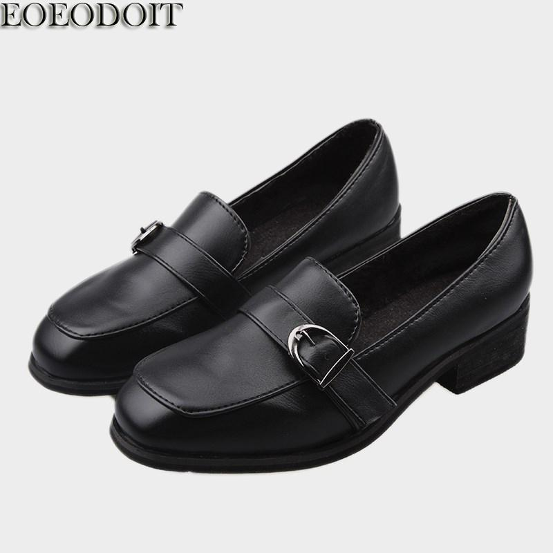 d1b7c5b805c Dress Shoes Eoeodoit 2019 Autumn Low Chunky Heel Square Toe Leather Pumps  Slip On Women Casual British Style Casual Daily Footwear