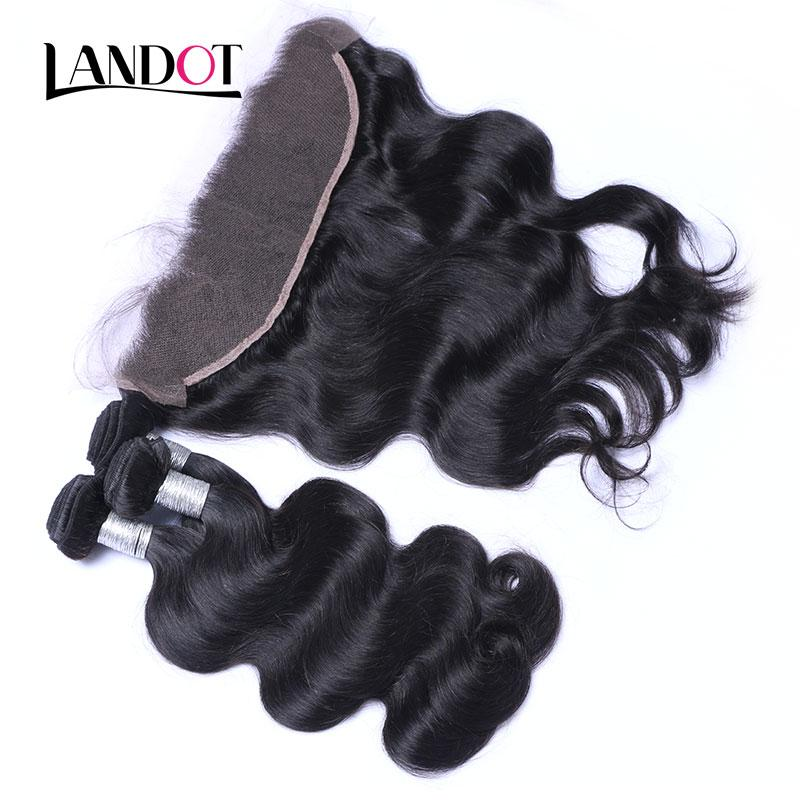 Brazilian Peruvian Malaysian Indian Virgin Human Hair Weave 3Bundles with Lace Frontal Closure Body Wave Straight Loose Deep Curly Remy Hair