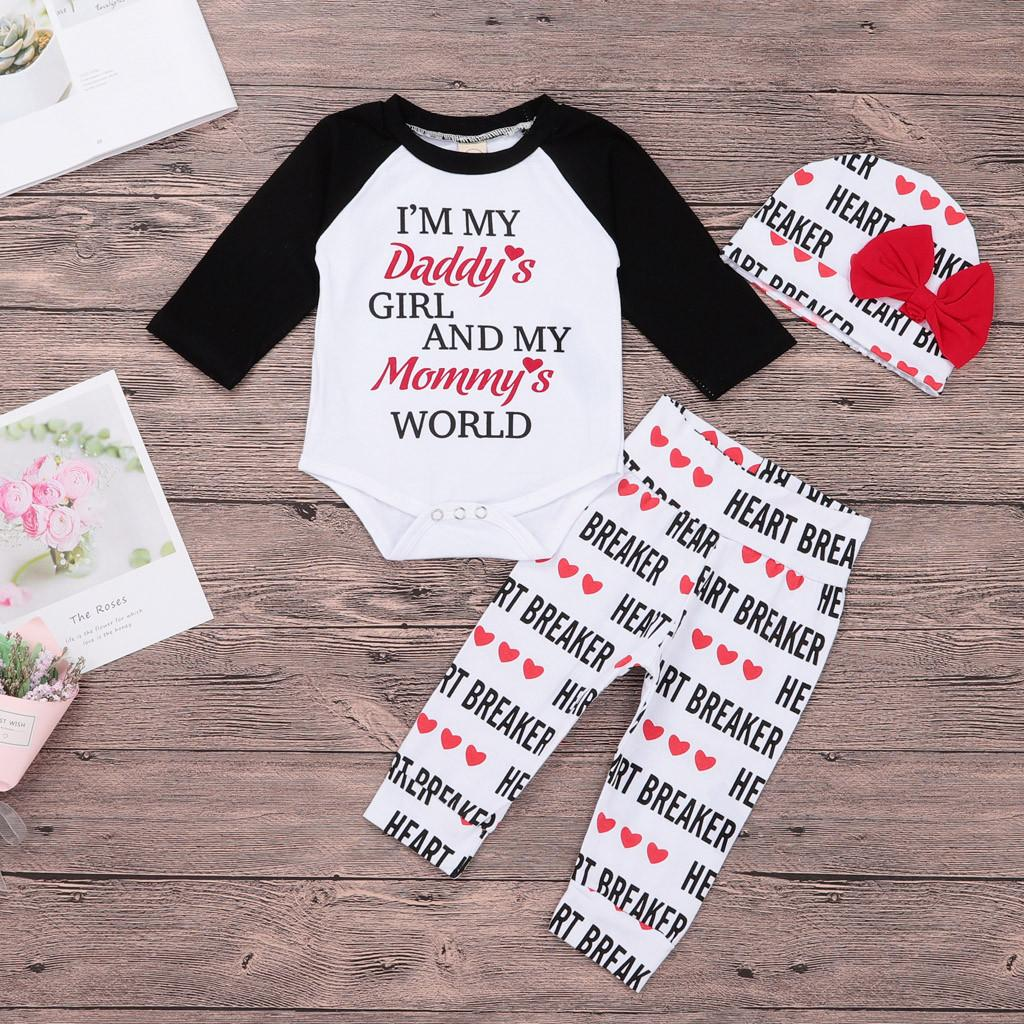 2fe58f67b89df Newborn Infant Baby Boy Girl clothes set Letter long sleeve Romper Tops  Pant Hat 3pcs Set Valentine Outfit clothes Baby Clothing