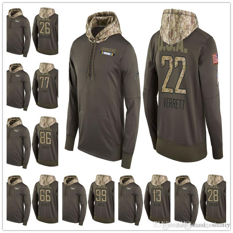 outlet store d7f40 15cc5 Men Youth Women Charger Salute to Service Sideline Therma Pullover Hoodie  Philip Rivers Joey Bosa Melvin Gordon Hunter Henry Keenan