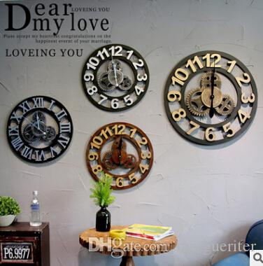 6b9c8b62302 Compre Relógios De Parede De Engrenagem Do Vintage De Madeira 3D Relógio  Estilo Europeu Retro Criativo Numeral Romano Arte Relógio Sala De Estar  Decoração ...