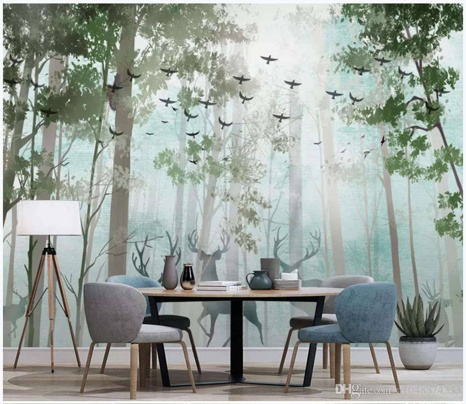High end Custom photo wallpaper 3d murals wall papers Modern minimalist fresh forest deer Nordic TV sofa background wall papers home decor