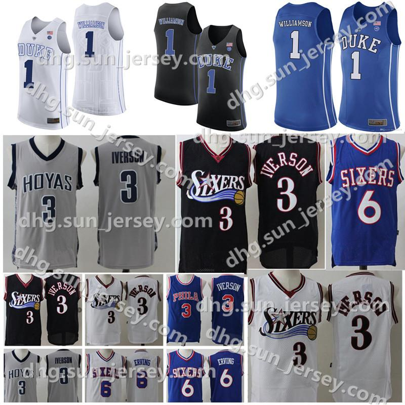 3980962afa3b 2019 College NCAA Mens 76ers Allen 3 Iverson Jersey Julius 6 Erving Duke  Blue Devils Zion 1 Williamson Blue White Retro Basketball Jerseys From ...