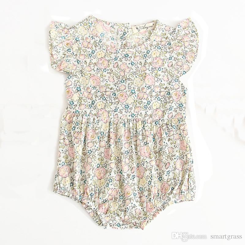 739ab47d2cdc Triangle Baby Girl Rompers Short Sleeve Cotton Floral Baby Onesies ...