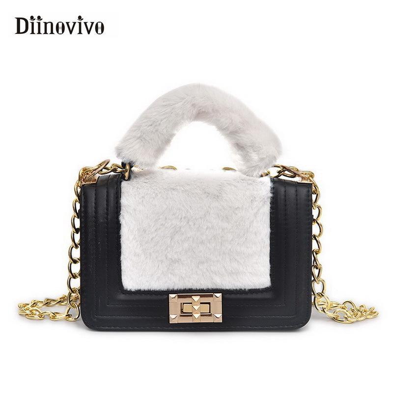 aa48a4260909 2019 Fashion DIINOVIVO 2018 New Fashion Plush Female Handbags Luxury  Designer Women Handbag Faux Fur Chain Shoulder Messenger Bag WHDV0808 Red Handbags  Pink ...