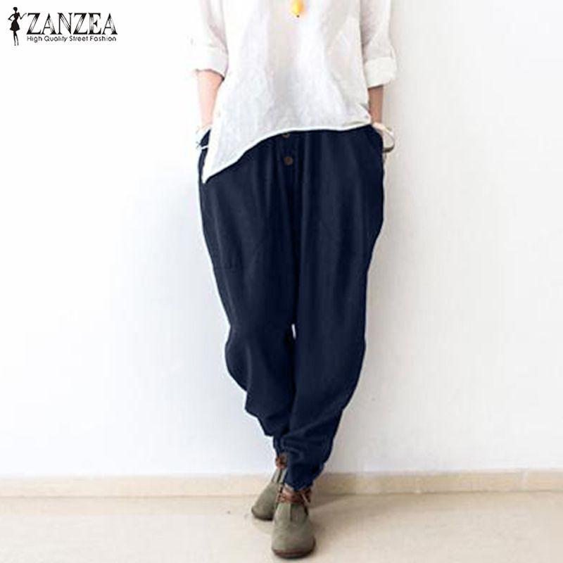 Compre ZANZEA 2019 Fiesta De Moda Pantalones Largos Mujeres Casual Cintura  Elástica Sólida Algodón Lino Pantalones Harem Gota Entrepierna Pantalon  Mujer A ... 2b999d726f4c