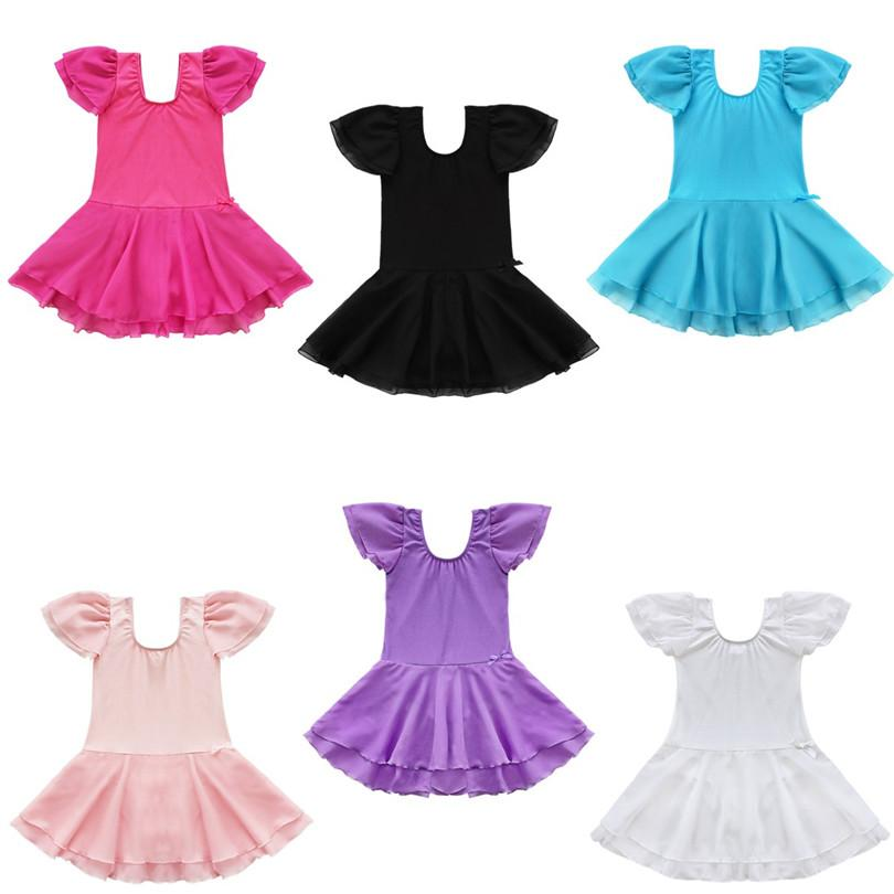 2018 Girls Ballet Leotard Dress Gymnastics Leotard Dance Costume Short Sleeve Ballet Dress Bailarina Dancewear For Girls Dancing