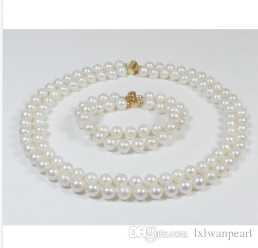 "DOUBLE STRANDS SOUTH SEA AAA 9-10MM WHITE PEARL NECKLACE 18"" + BRACELET 8"" 14K"