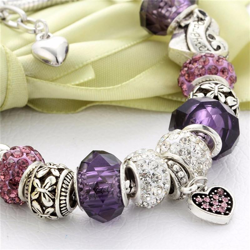 2017 moda diy handmade coração encantos pulseira com contas de vidro de cristal cobra cadeia pulseira para as mulheres festa de jóias pulseras