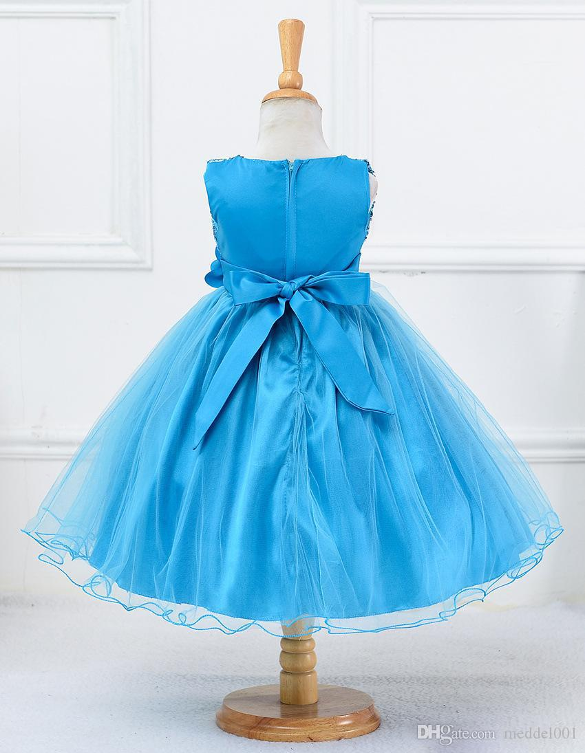 Hot Sale Baby Sequins Girl Flower Dresses Party Princess Dress Children kids clothes Girl Pageant Gowns