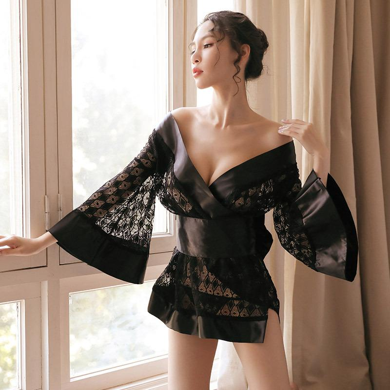 2f11d2d6c 2019 2019 New Deep V Neck Hot Sexy Lingerie Satin Lace Kimono Bath Gown  Intimate Sleepwear Short Bath Robe Night Gown Black Nightwear From Paluo