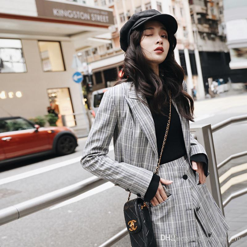 1e92a41e6b2a 2019 Autumn Women Suit Female Korean Fashion Long Sleeved Plaid Suit Jacket  Female Two Piece Stitching Ladies Skirt From Despicable_me, $42.22 |  DHgate.Com