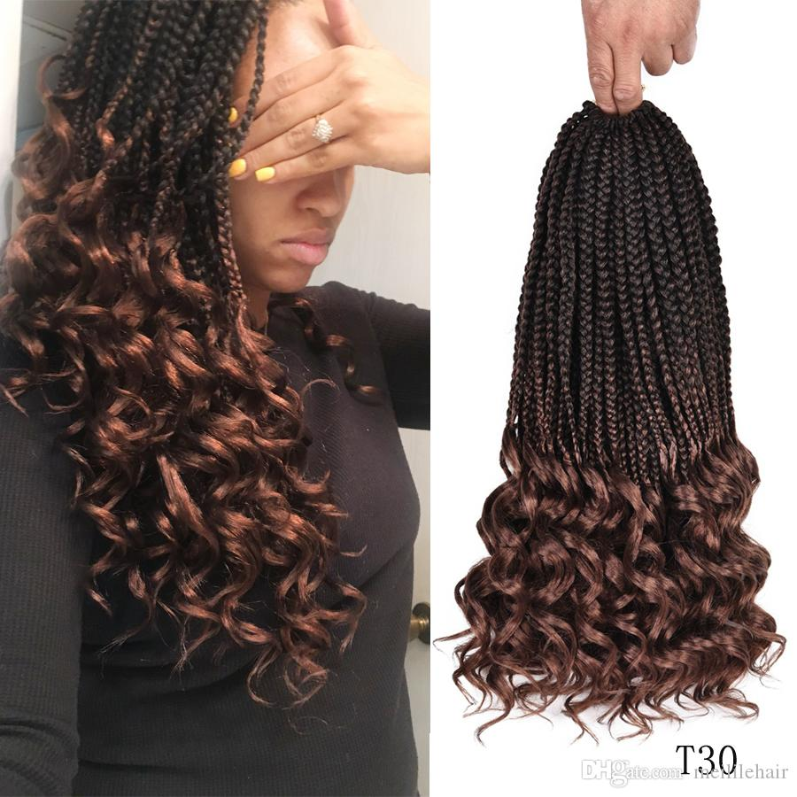 18inch 3s wavy box braids crochet braid hair extensions 22roots ombre  kanekalon synthetic goddess box braids with wavy free end crochet brai
