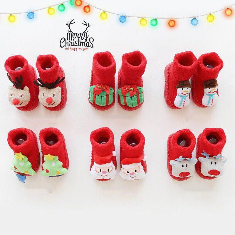 75e2c13838817 Acheter Chaussettes De Bébé De Bande Dessinée De Noël En Coton Pour Cadeau  Nouveau Né Anti Dérapant Chaussettes Chaudes Pantoufles Bottes Enfant  Garçon ...