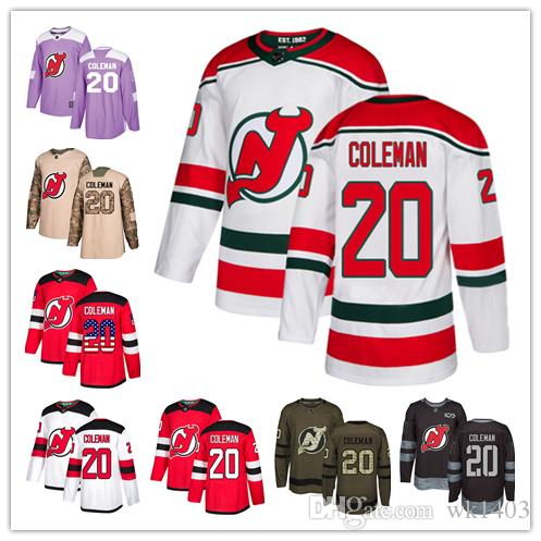 100% authentic c42d5 dad76 New Jersey Devil jerseys #20 Blake Coleman Jersey hockey men women youth  red home white away USA FLAG Premier Alternate stitched Jerseys