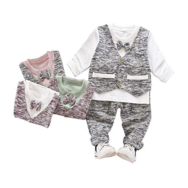 Compre Niños Niños Niñas Ropa De Algodón Primavera Otoño Bebé Falso Chaleco  T Shirt Pantalones 2 Unids   Set Moda Bolsillo Pajarita Ropa Chándal A   28.22 ... 7de5ff6a6b78