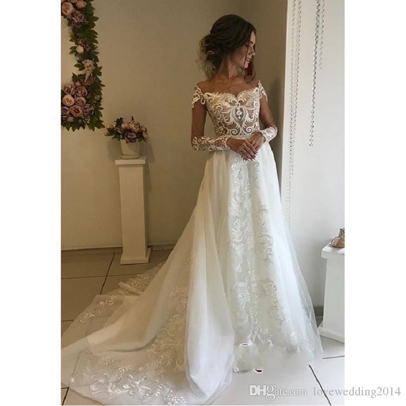 Cheap Sheer Drop Waist Wedding Dress Discount Tea Length Bridal Fashion Wedding  Dresses 63f259295b46