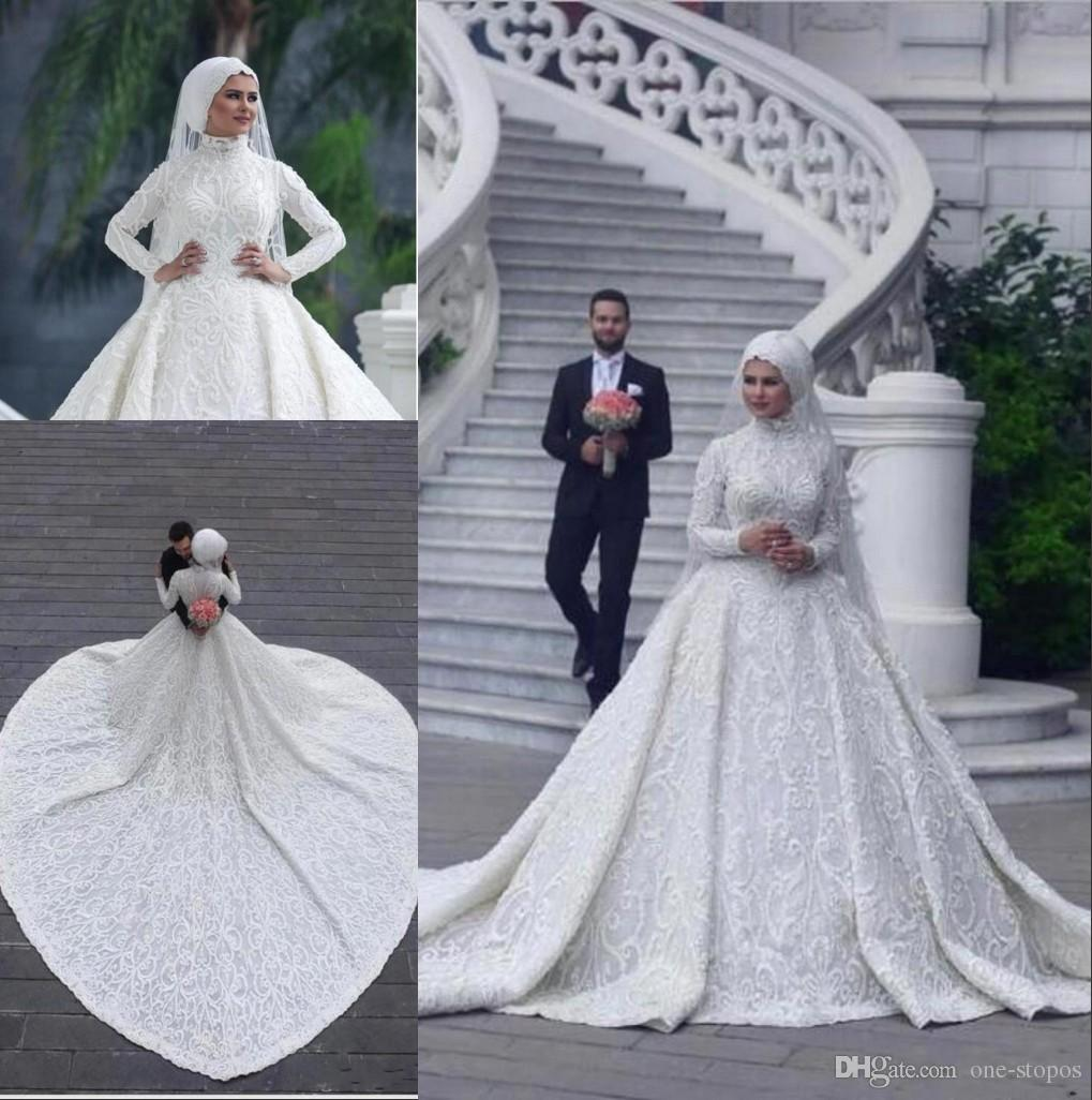a3322b262a2d4 2019 Custom Made High Neck Long Sleeve Muslim Wedding Dresses Unique Design  A-Line Lace Appliques Elegant Bridal Wedding Gowns BC0393