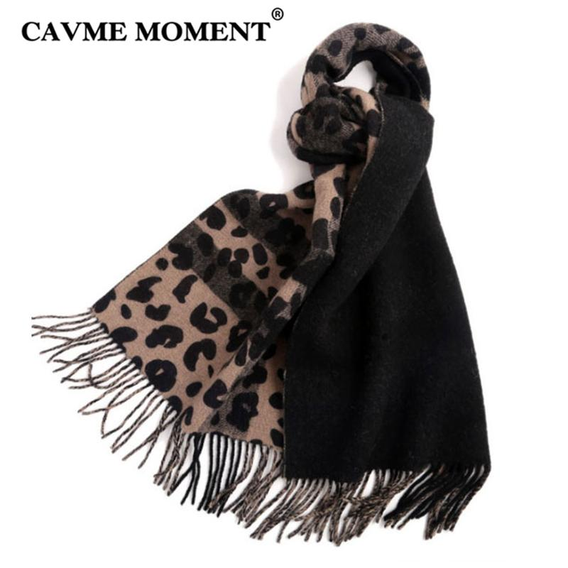 scarpe sportive de0ab e67be CAVME 100% lana sciarpe leopardate donne sciarpe lunghe per le signore 2018  moda inverno sciarpa avvolge scialli 50 * 200 cm 240g