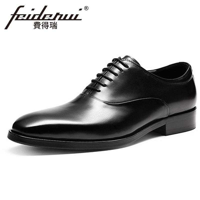 Elegant Genuine Leather Men's Oxfords Pointed Toe Man Wedding Party Flats Formal Dress Handmade Designer Shoes For Suit FHS147