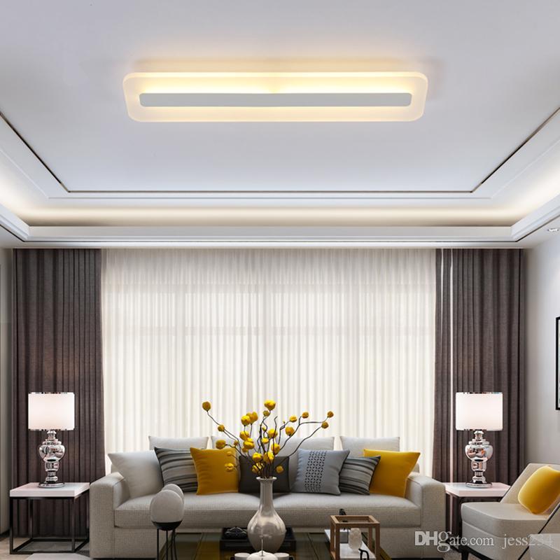 Minimalismo moderno Alto brillo LED luces de techo dormitorio rectangular  Salón comedor Iluminación de lámparas de techo lamparas de techo