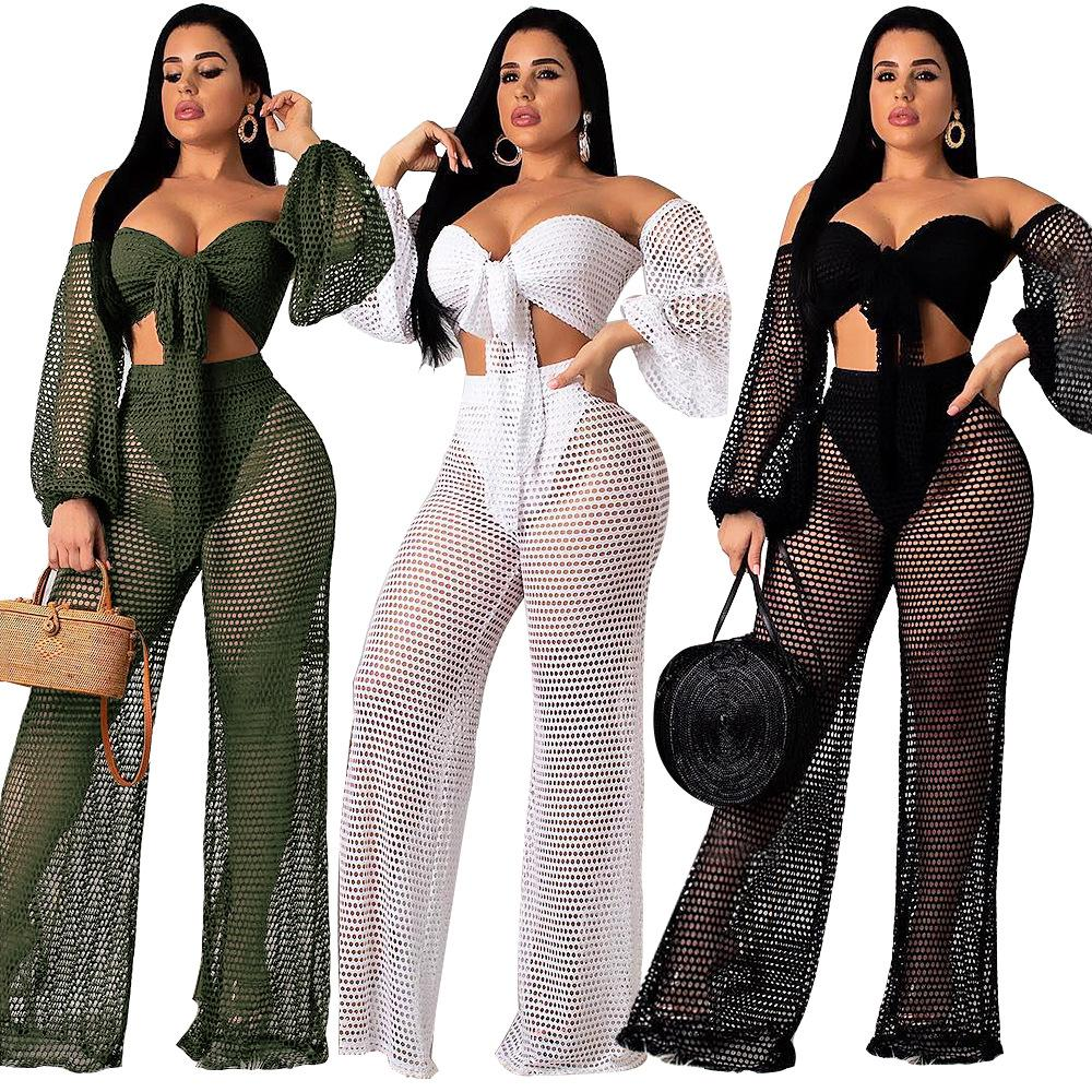 721908a143 2019 Beach Set Women Solid Net Hollow Off Shoulder Long Lantern Sleeve  Bandage Crop Top Long Pant Outfits Club Party Pant Suits From Hengytrade,  ...