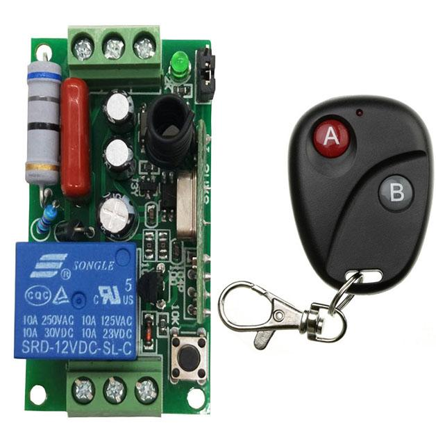 AC220V 1CH 10A Radio Controller RF Wireless Relay Light Lamp LED Remote  Control Switch Transmitter Receiver garage door/shutters