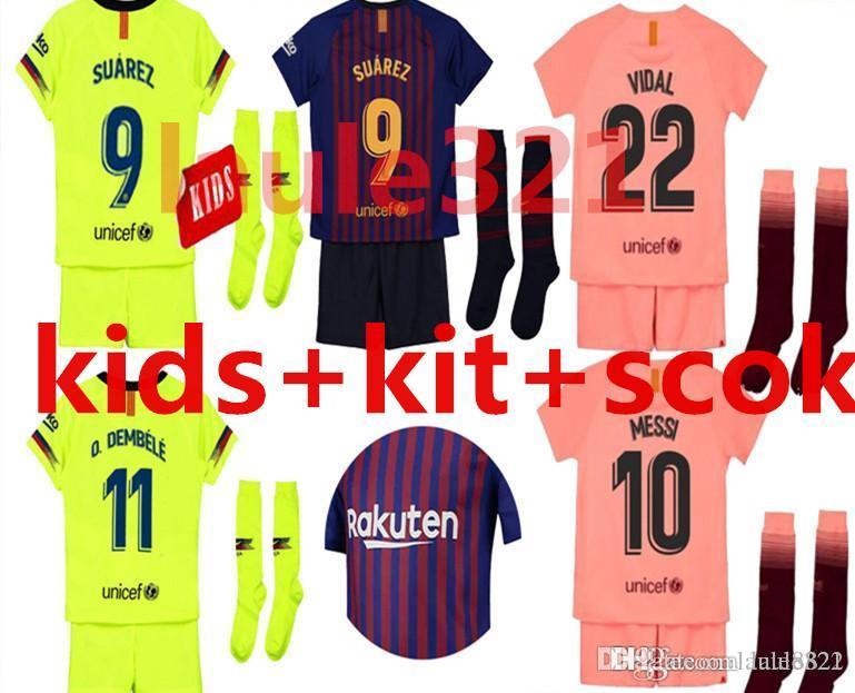 c73c148925 2019 2018 2019 2020 MESSI SUAREZ Barcelona Kids Jersey Soccer 2019 ...