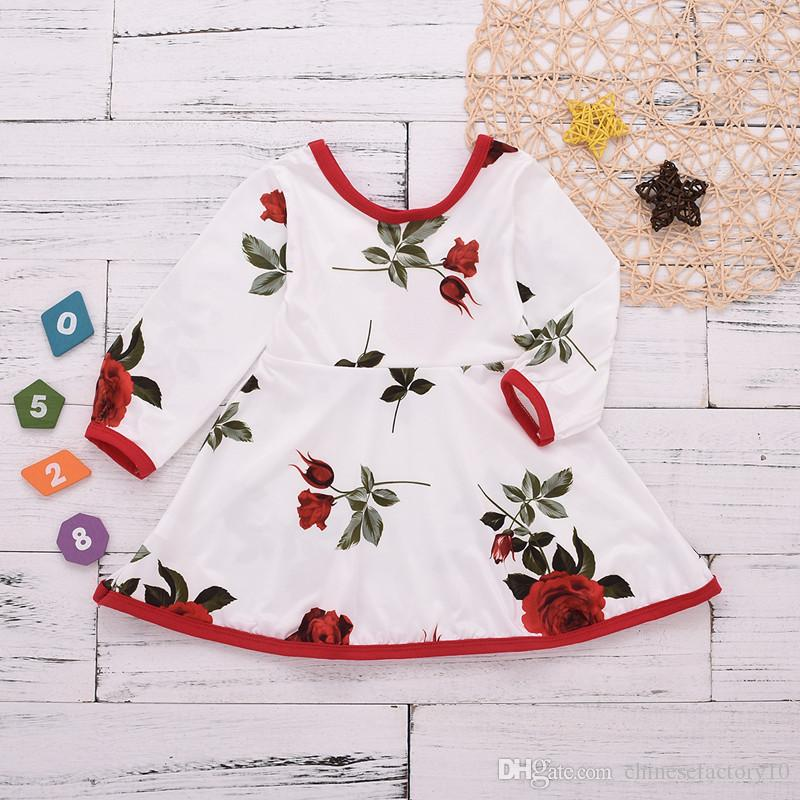Baby Girls Dress Rose Flower Printed Slim Long Sleeves Dresses Toddler Valentine Day Princess Dress Cotton New 2019