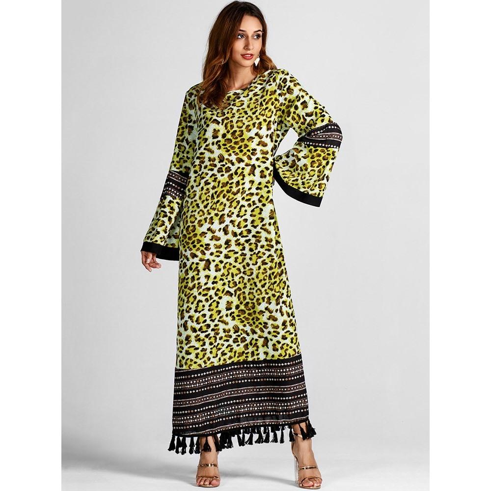 7f1593c0803c Acquista Abiti Lunghi Da Donna Inverno Verde Casual Musulmano Boho Plus  Size Flare Sleeve Leopard Tassel Stampa Moda Femminile Elegante Maxi Vestito  A ...