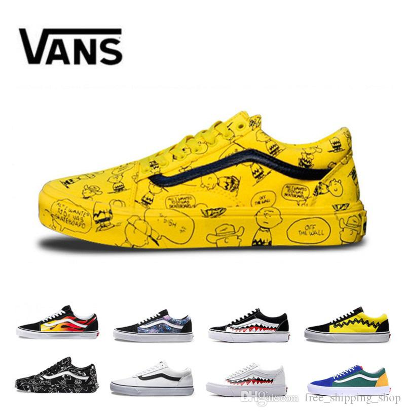 ae2daccc70 Vans Old Skool Men Women Casual Shoes Rock Flame Yacht Club Sharktooth  Peanuts Skateboard Canvas Mens Trainer Sports Running Shoe Sneakers Most  Comfortable ...