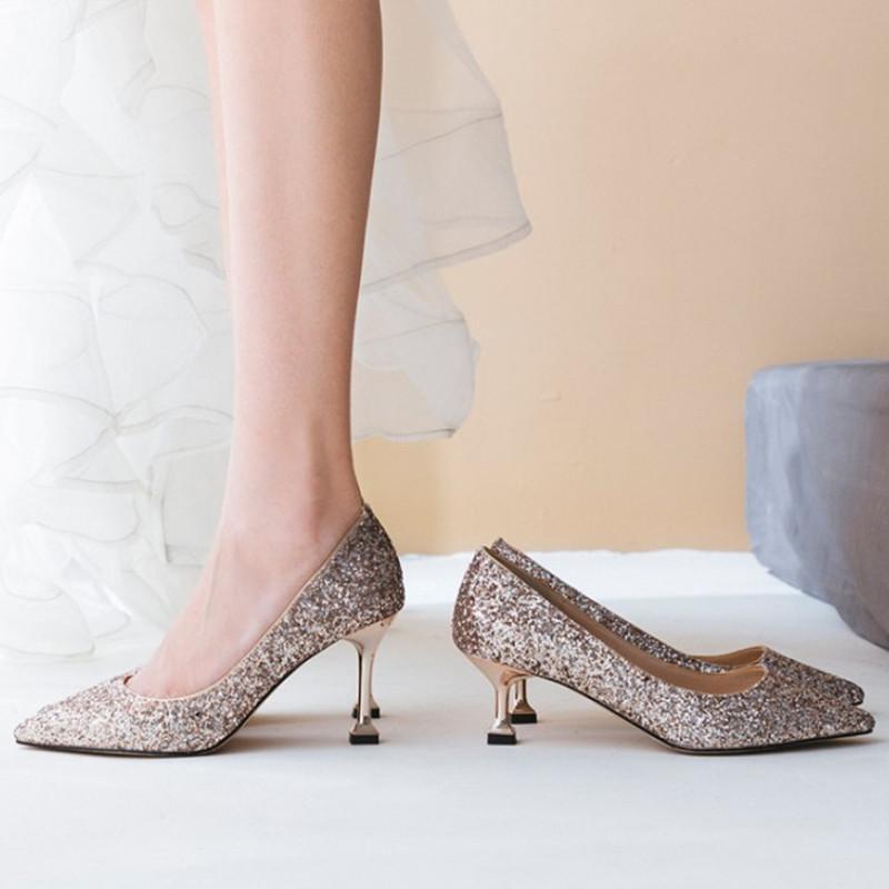 compre zapatos de boda con brillos en punta para las mujeres bombas