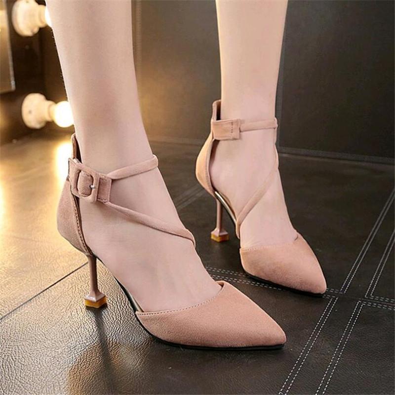 a764e810b Compre Designer De Sapatos De Vestido 2019 Nova Moda Coreana Sandálias  Baotou Selvagem Palavra Fivela Com O Calcanhar Feminino Boca Rasa Apontou  De Deal44, ...