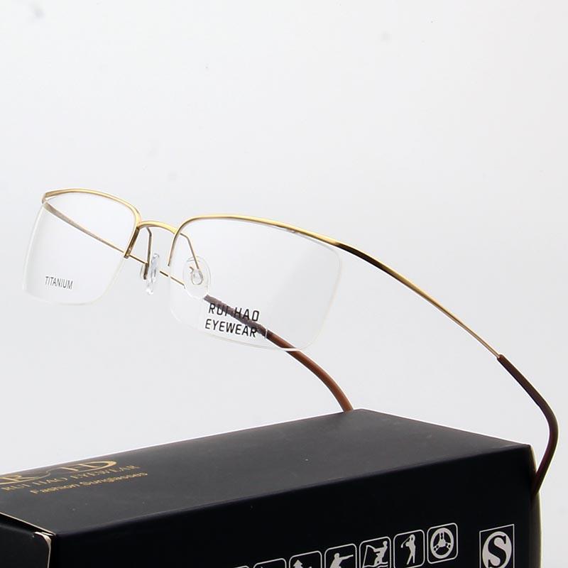 12e01e4a1ca7 2019 Pure Titanium Eyeglasses Frames Ultralight High Elasticity Optical  Glasses Frame No Screw Design Half Rimless Spectacles 5296 From Gwyseller,  ...