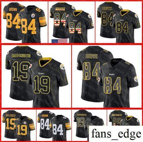 super popular 618b1 fe57c Pittsburgh 84 Antonio Brown Jersey Steelers 19 JuJu Smith-Schuster 2018 USA  Flag Fashion Impact Lights Color Rush Football Jerseys