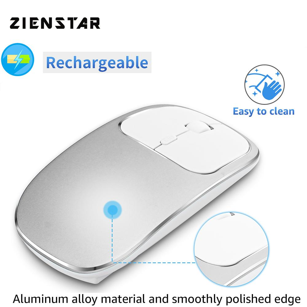 Rechargeable Aluminum Alloy Silent Click 2.4G Wireless Mouse with USB Receiver2400DPI ,600Mah Battery for Mac,Computer