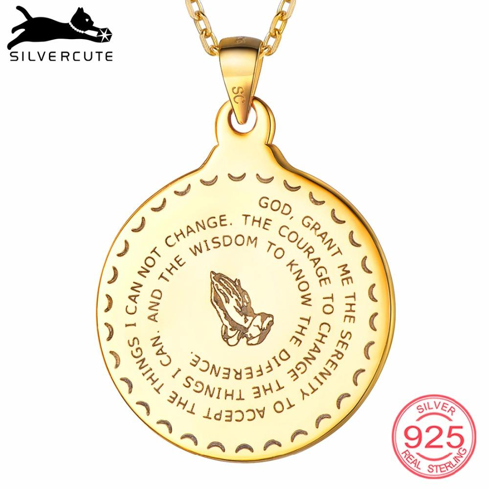 SILVERCUTE 925 Sterling Silver Men Praying Hands Necklace Unisex Religious  Jewelry Round Bible Verse Pendant Gift SCP6489B