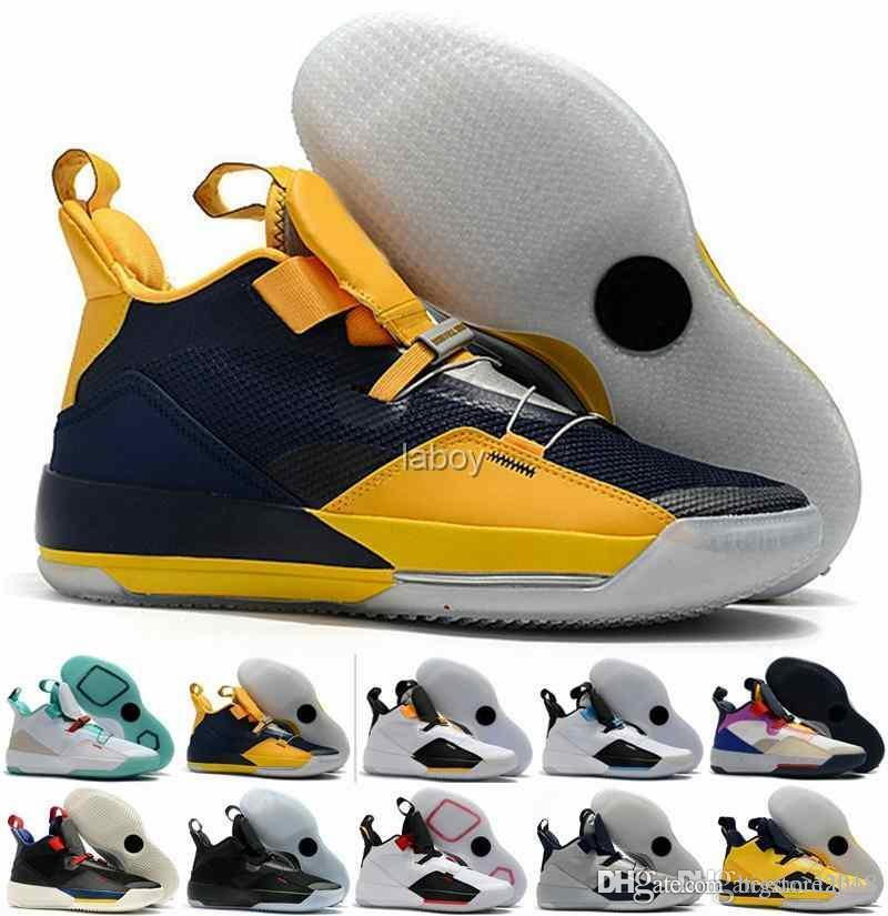 the best attitude 74aa9 e351d Großhandel Nike Air Jordan Retro 2019 Jumpman XXXIII 33 Herren Basketball  Schuhe Fashion 33s Multicolors Schwarz Gelb Trainers Designer Sneakers Man  ...