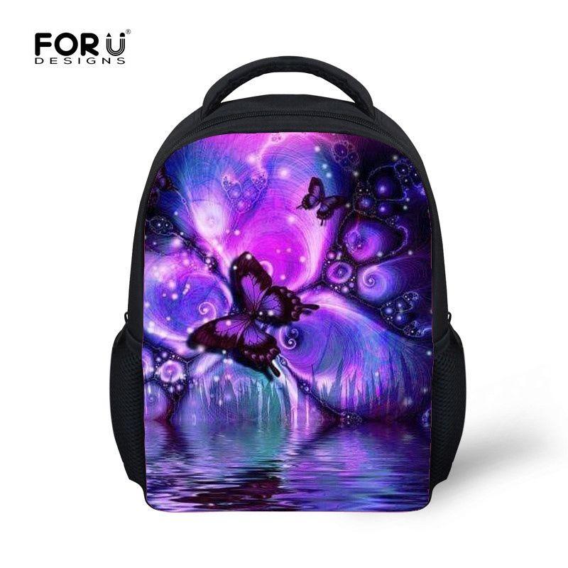 7f57d0d2255 FORUDESIGNS Butterfly Printing Baby Kids School Bags,Preschool Boy Girl  Small Book Schoolbag,Mini Children Kindergarten Backpack #89485