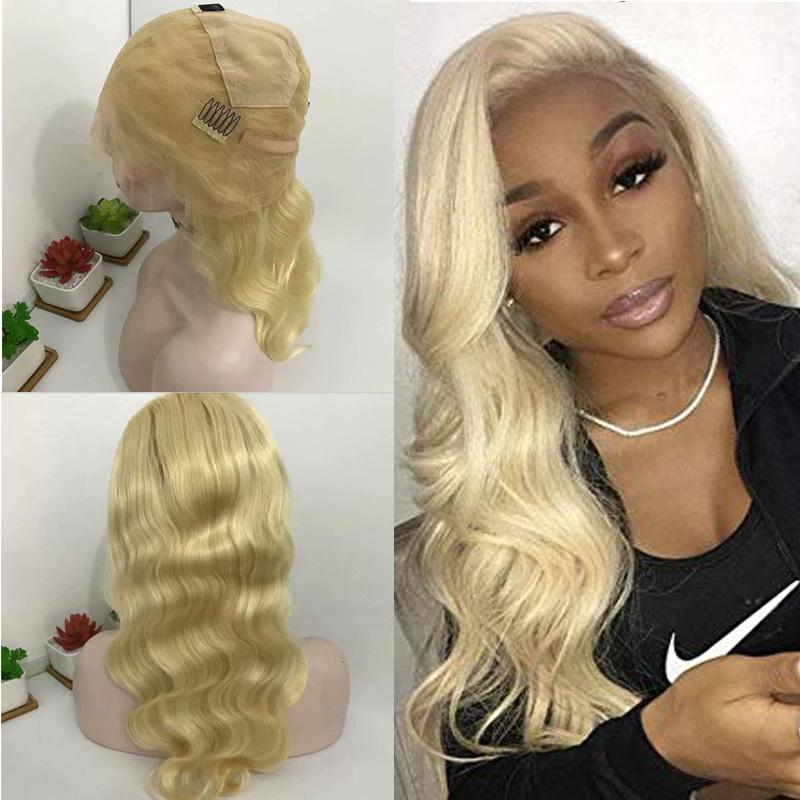 Brazilian Virgin Hair Honey Blonde Full Lace Wigs 613# Body Wave Human Blonde Hair Lace Front Wigs With Baby Hair