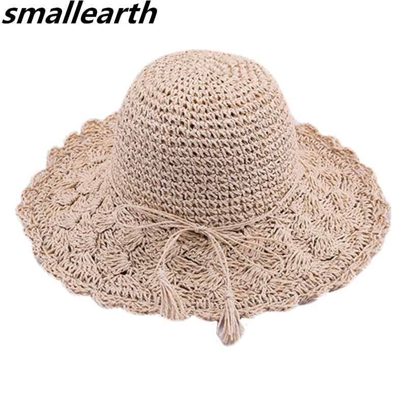 2018 Frauen Sommer Große Krempe Faltbare Sonnen Hüte Handgemachte Häkeln Stroh Strand Hut Sonnenschutz Hut Weibliche Sonnenhüte Bekleidung Zubehör