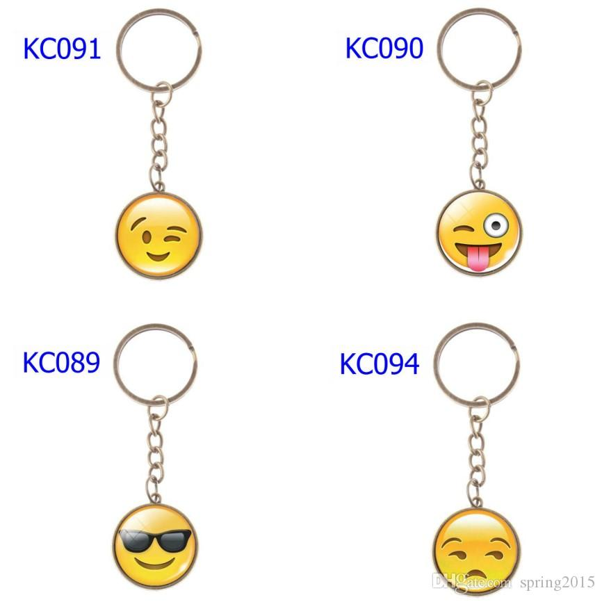 74 Styles 2 Colors Keychains Various Smiley Face Expression Car Keychains Time Gem Single Side Cartoon Games Keychain Mix Order