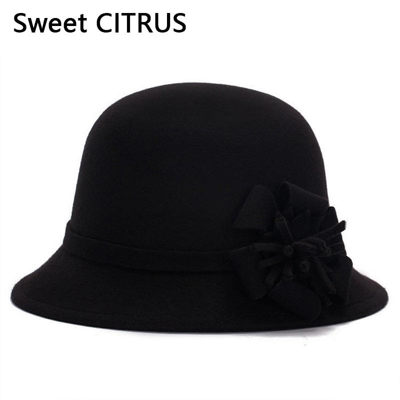 10ab21af953fd 2019 Sweet CITRUS Fashion New Flower Fedora Ladies Winter Vintage Caps Women  Wool Cloche Hat Felt Bucket Bowler Dome Bow Cap From Value333