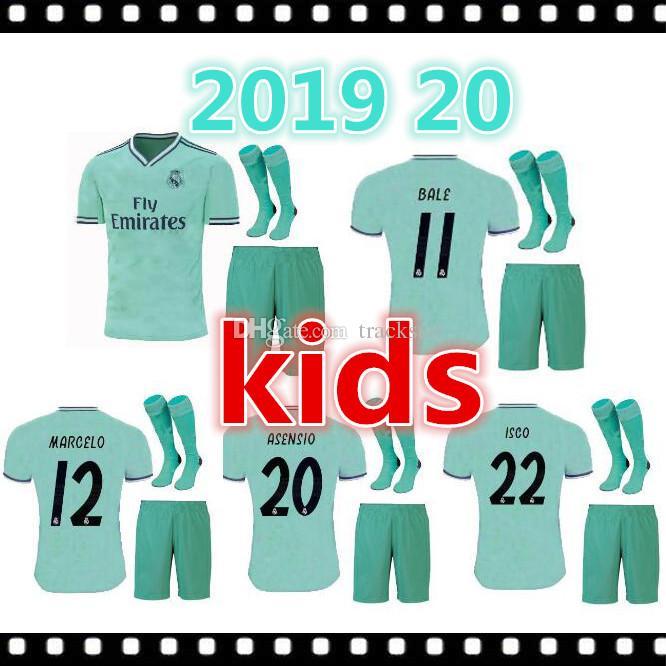 293cb45f7 2019 2019 2020 Kids Kit 19 20 Real Madrid Soccer Jerseys THIRD GREEN  BENZEMA MODRIC Isco MARCELO Bale ASENSIO Camiseta De Futbol FOOTBALL SHIRTS  From ...
