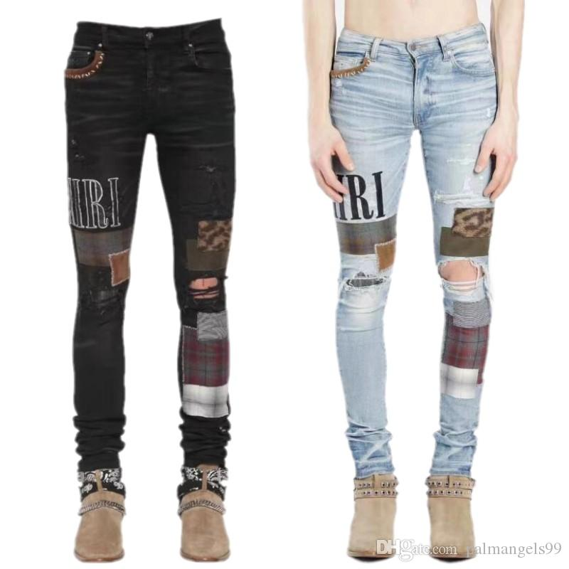 2020 New Mens Designer Jeans Arrival Top Quality Brand Mens Distressed patch Biker Jeans Slim Fit Motorcycle Denim For Hip Hop Men Jeans